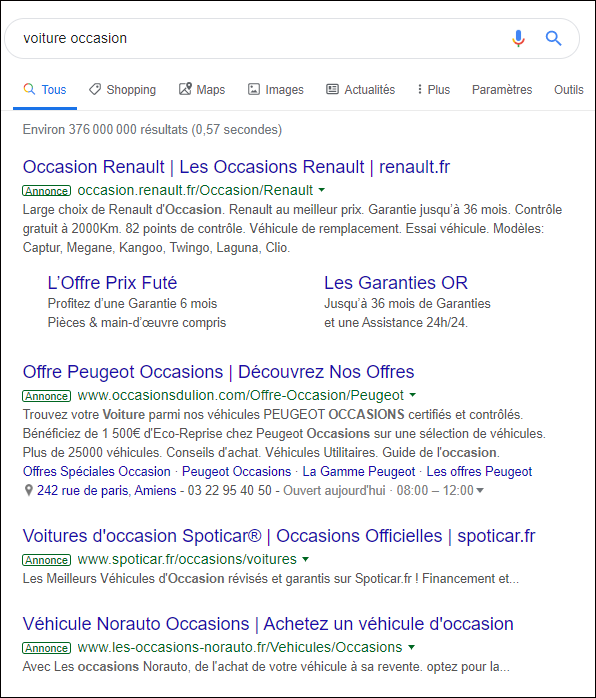 Annonce Google Ads