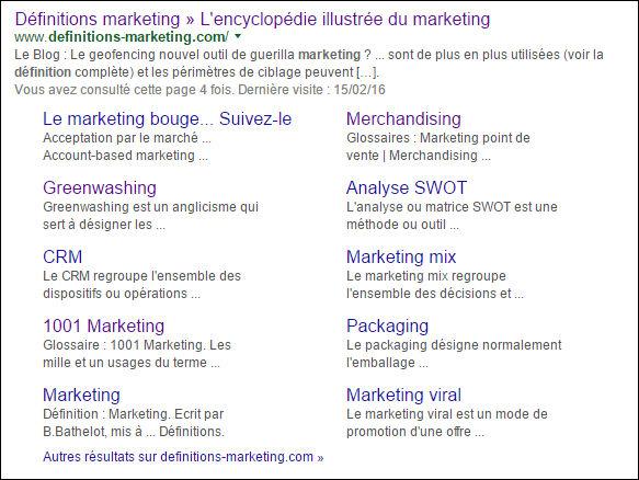 Sitelinks Google SEO