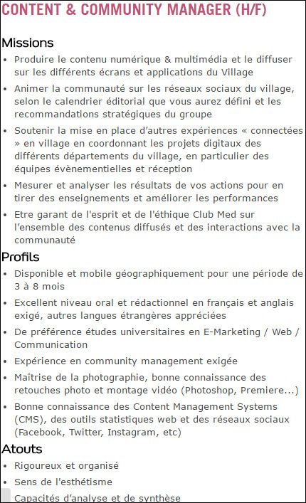 Offre emploi content manager