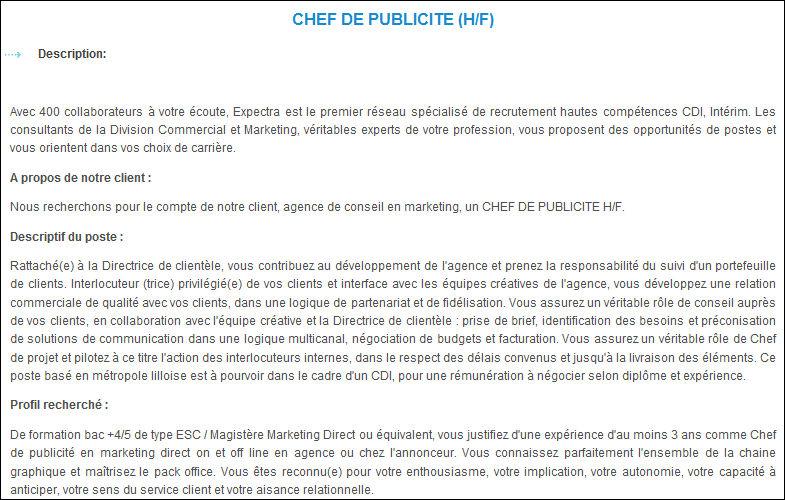 D finition chef de publicit agence d finitions marketing - Offre d emploi directeur office de tourisme ...