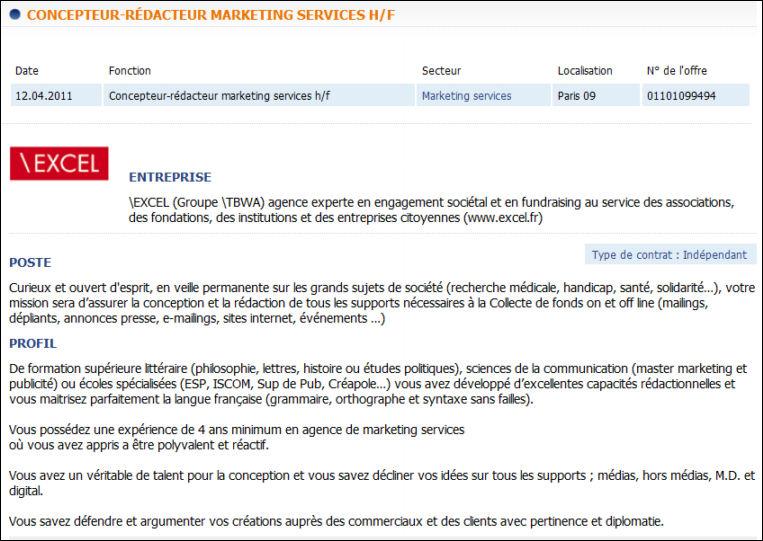 D finition concepteur r dacteur d finitions marketing - Offre d emploi chambre de commerce ...