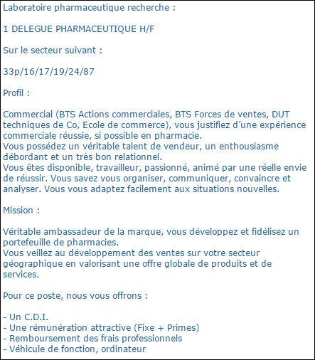 commercial pharmaceutique emploi