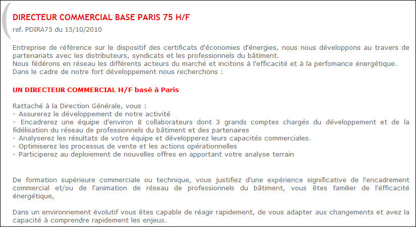 Exemple offre d 39 emploi pour un commercial document online for Offre d emploi chambre de commerce