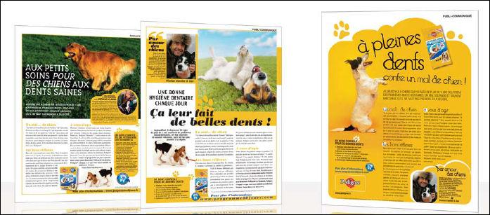 Publireportage sur la nourriture pour chiens Pedigree. Exemple de publicité rédactionnelle.